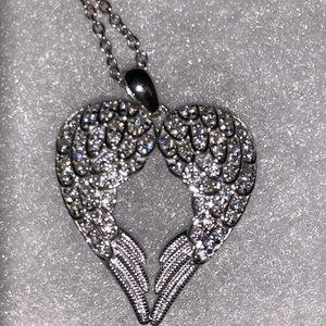 Beautiful Diamonique Angel Wing Pendant Necklace